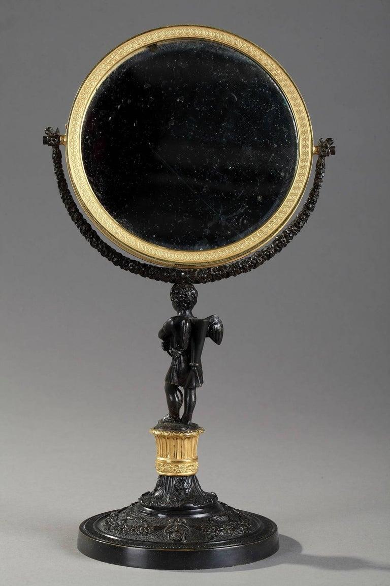 19th Century Charles X Gilt and Patinated Bronze Pivoting Mirror For Sale 4
