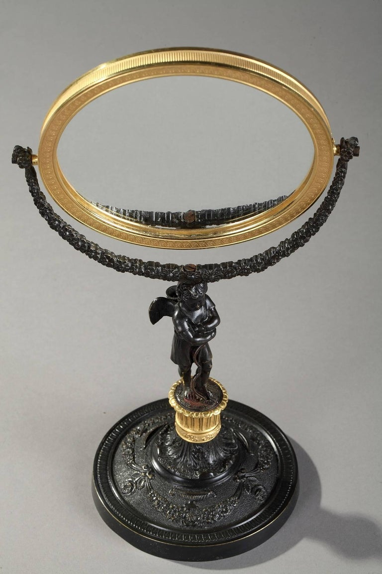 19th Century Charles X Gilt and Patinated Bronze Pivoting Mirror In Good Condition For Sale In Paris, FR