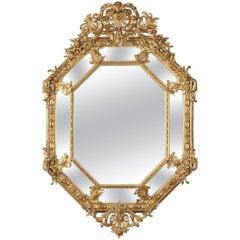 19th Century Napoleon III Large Giltwood and Stucco Mirror