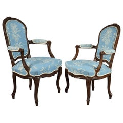Pair of 18th Century Louis XV Beech and Blue Fabric Armchairs