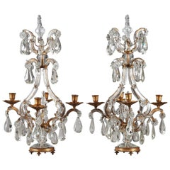 19th Century Pair of Crystal and Gilt Bronze Candelabra