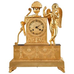 Early 19th Century Restoration Ormolu Mantel Clock with Cupid