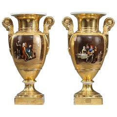Pair of 19th Century Empire Porcelain Vases with Peasant Scenes