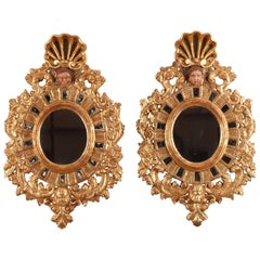 19th Century Pair of Giltwood Mirrors in 17th Century Venetian Style