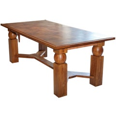 Mid-20th Century Natural Wood Dining Table with 2 Extensions by Baptistin Spade