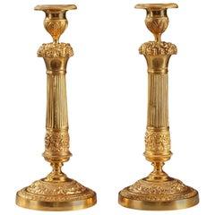Early 19th Century Restauration Ormolu Candlesticks