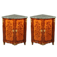 Pair of 18th Century Louis XV Corner Cabinets with Flower Marquetry