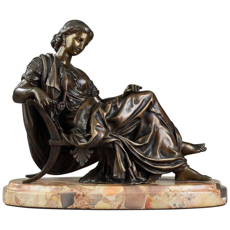 Bronze Sculpture Seated Woman by Moreau, after James Pradier For Sale