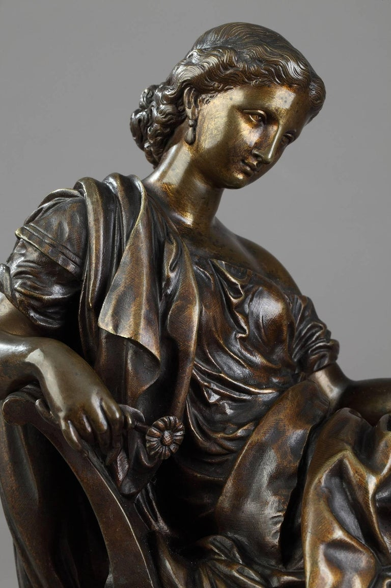 Classical Greek Bronze Sculpture Seated Woman by Moreau, after James Pradier For Sale
