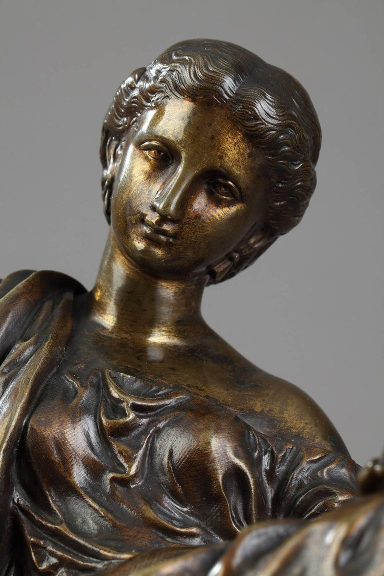 French Bronze Sculpture Seated Woman by Moreau, after James Pradier For Sale