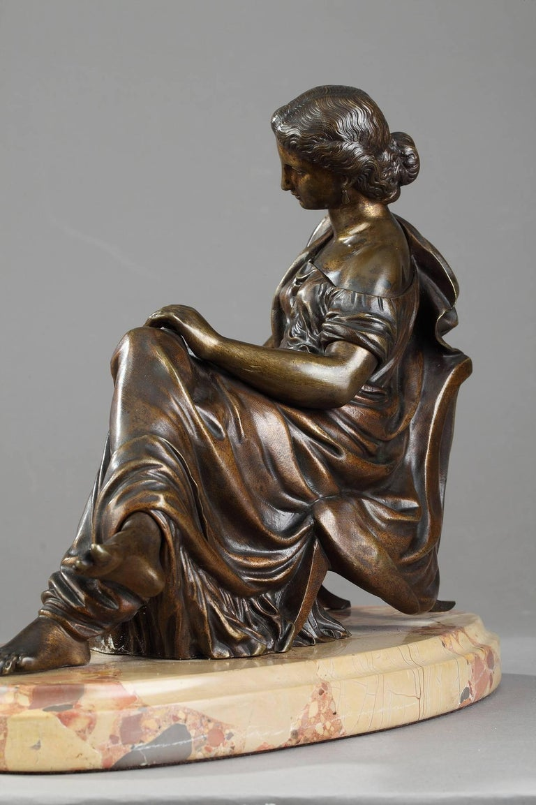 19th Century Bronze Sculpture Seated Woman by Moreau, after James Pradier For Sale