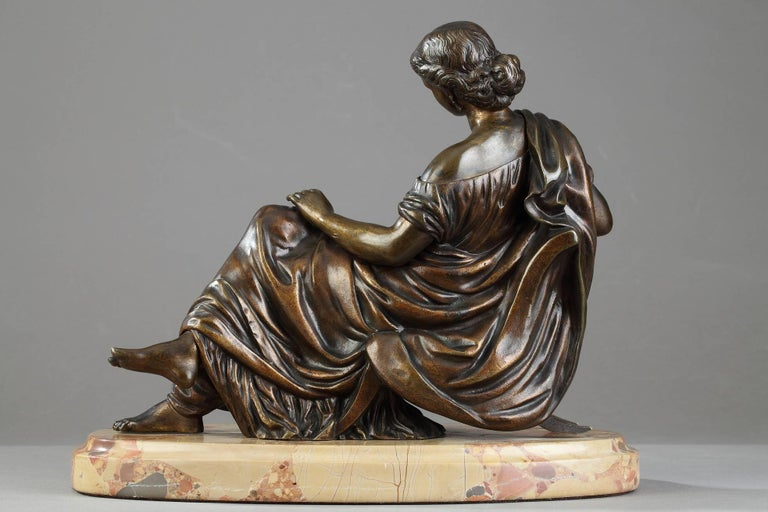 Bronze Sculpture Seated Woman by Moreau, after James Pradier For Sale 1