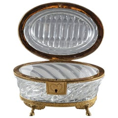 Charles X Cut-Crystal and Ormolu Antique Jewelry Box
