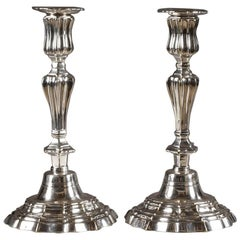 19th Century Silvered Bronze Candlesticks by Henry Theophole