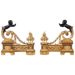 19th Century Gilt and Patinated Bronze Andirons in Louis XVI Style