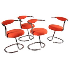 Four Tubular Chromed Metal Chairs by Giotto Stoppino