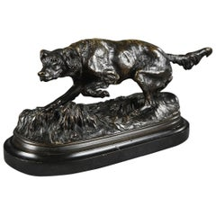 Bronze Sculpture, Dog on a Terrace, Signed Pierre-Jules Mêne