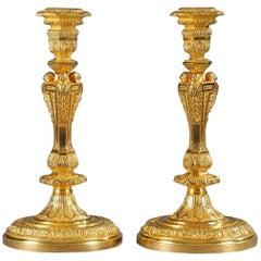 Pair of 19th Century Candlesticks in French Regence Style