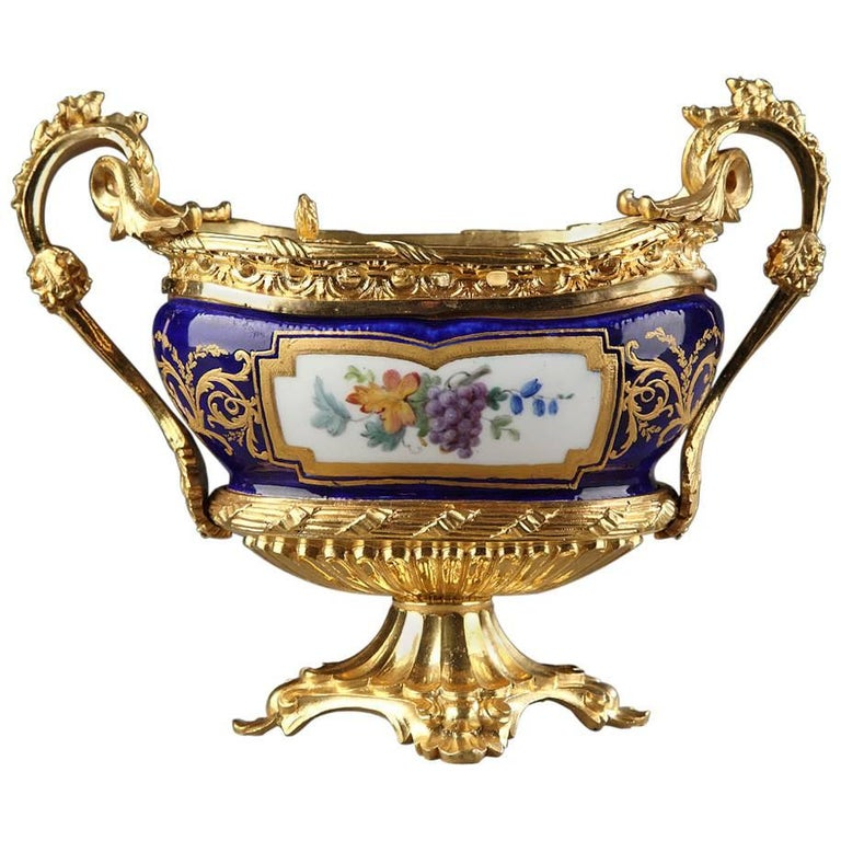 Rare 18th Century Gilt Bronze-Mounted Sèvres Porcelain Inkstand For Sale