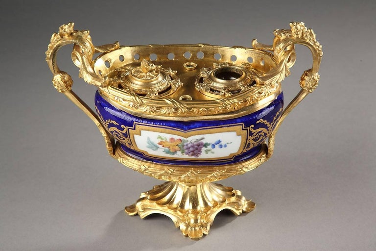 French Rare 18th Century Gilt Bronze-Mounted Sèvres Porcelain Inkstand For Sale
