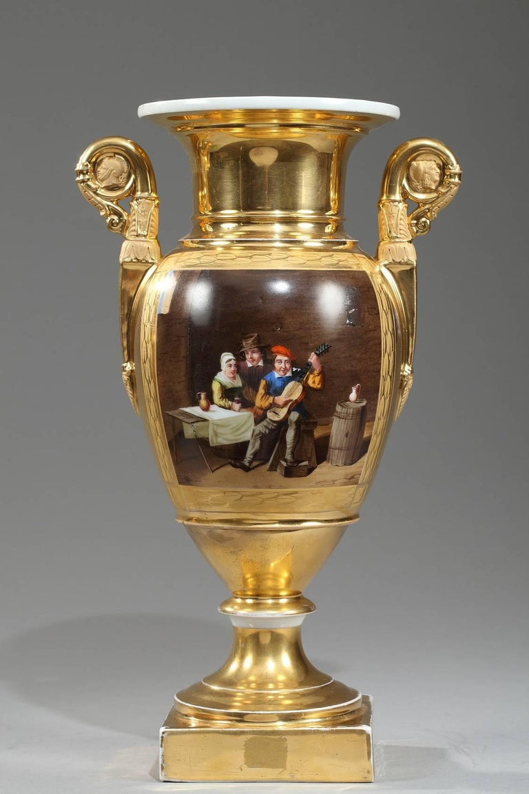 Early 19th Century Empire Porcelain Vases with Cabaret Scenes For Sale 2