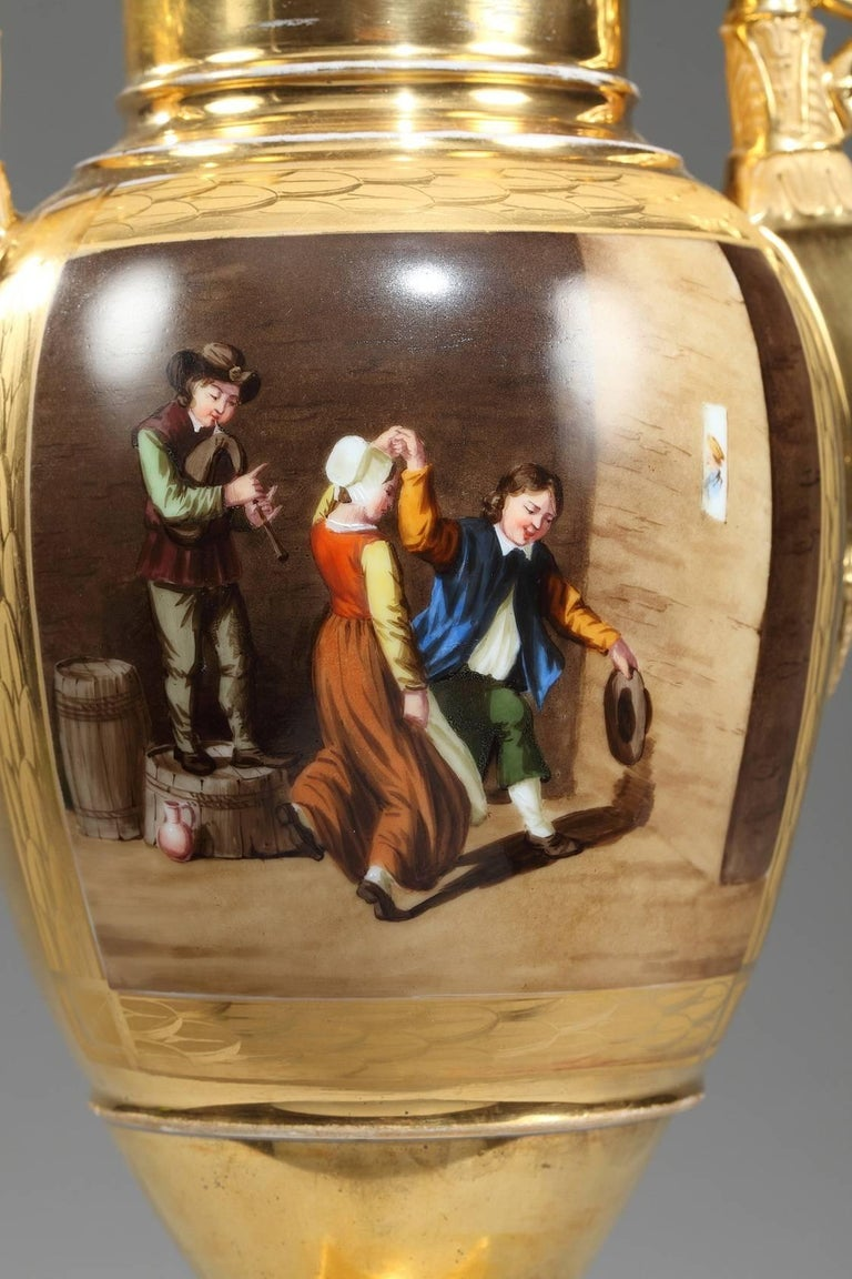 Hand-Painted Early 19th Century Empire Porcelain Vases with Cabaret Scenes For Sale