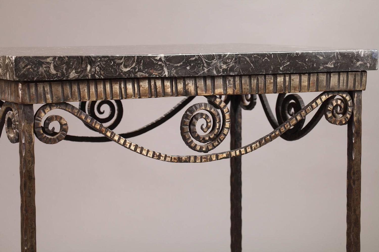 wrought iron art deco table for sale at 1stdibs. Black Bedroom Furniture Sets. Home Design Ideas