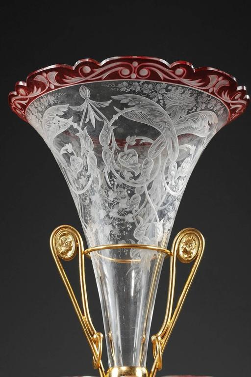 French Late 19th Century Crystal and Gilt Bronze Centrepiece For Sale