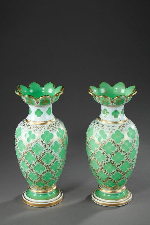 Gilded Overlay Glass Vase