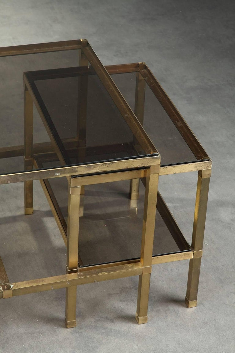 1970s Set of Three Nesting Tables Attributed to Maison Jansen For Sale 2