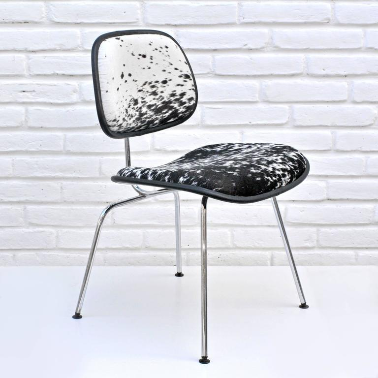 Metal Charles and Ray Eames for Herman Miller, DCM Cowhide Side Chair For Sale