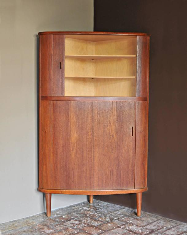 Scandinavian Modern Skovmand Andersen Teak Tambour Corner Cabinet Denmark For Sale