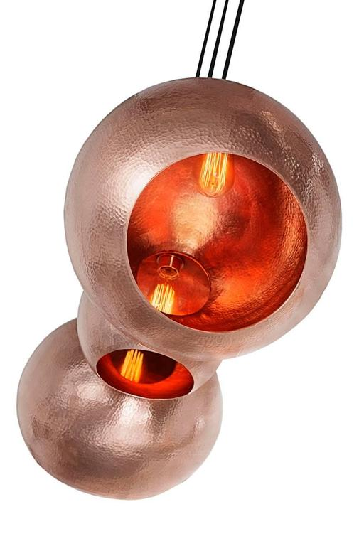 Organic Modern Orb, 2017, Hand Hammered Mexican Pendant Light For Sale