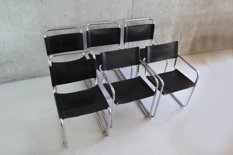 Set of six bauhaus style 1970s black leather dining chairs for Black leather dining chairs for sale