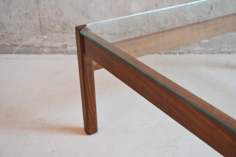 1970s Mid Century Solid Oak Frame Glass Topped Coffee Table At 1stdibs