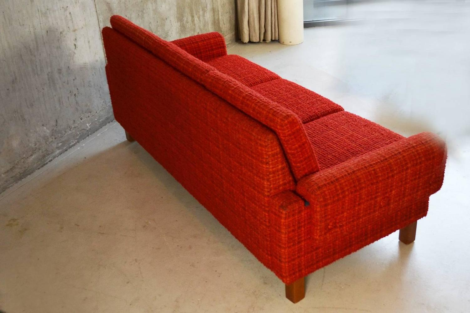 Danish 1970s Mid Century Three Seat Red Or Orange Check