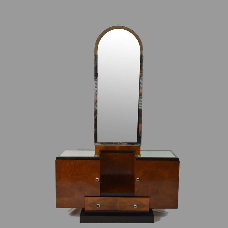 20th Century Art Deco Wood and Black details Vanity Table Mirror and Stool, France 1930s  For Sale