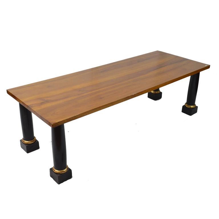 20th Century Empire Style Walnut Wood Coffee Table