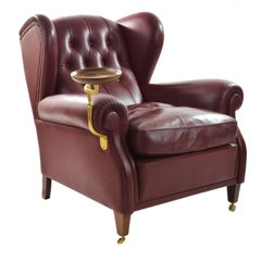 Poltrona Frau Original Armchair Model Nr 1919 with Ashtray and its pouffe