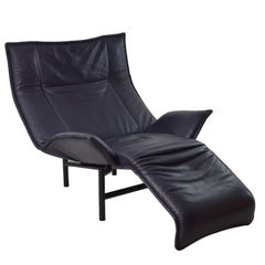 1980s Vico Magistretti Black Leather Veranda Lounge Chair for Cassina