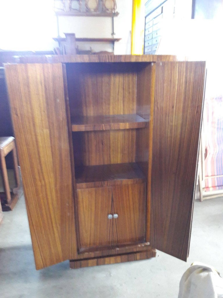 1930s Art Deco Macassar Wood Two Doors Rounded Corners Bar Cabinet At 1stdibs