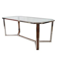 1970s Hexagonal Steel and Wood Table Attributed to Romeo Rega