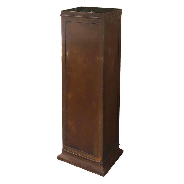 Cast Iron Column, Wheels and Black Marble Top For Sale