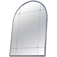 Pescetta Industrial Contemporary Silver Iron Frame Panelled Rounded edges Mirror