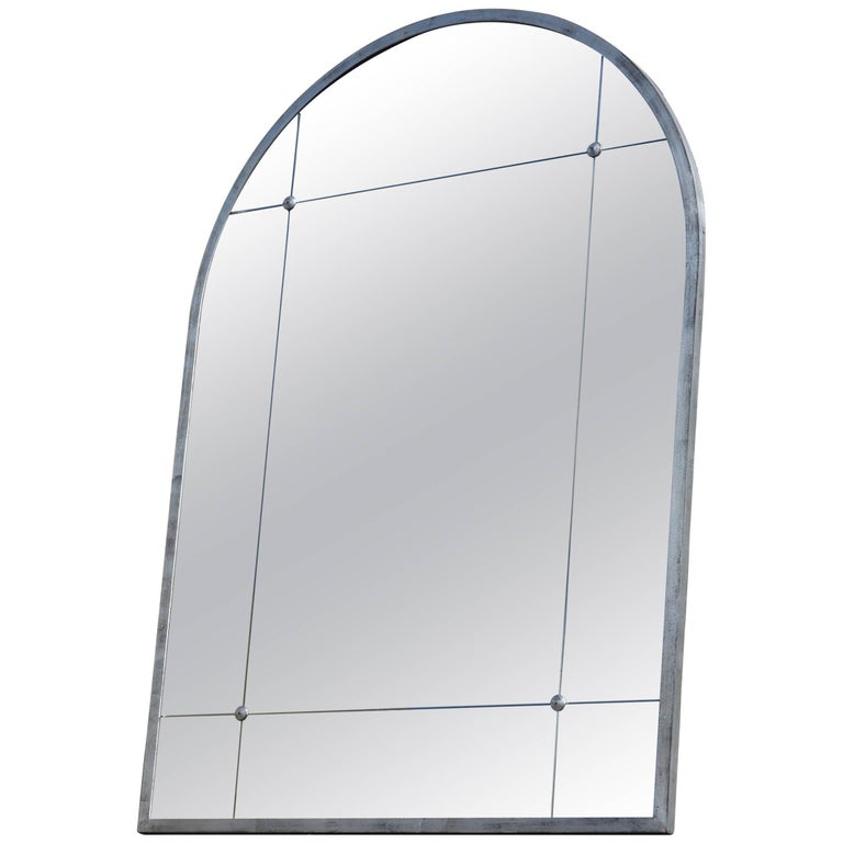 Customizable Silver Leaf Rounded Corners Frame Panelled Aged Mirror in Stock