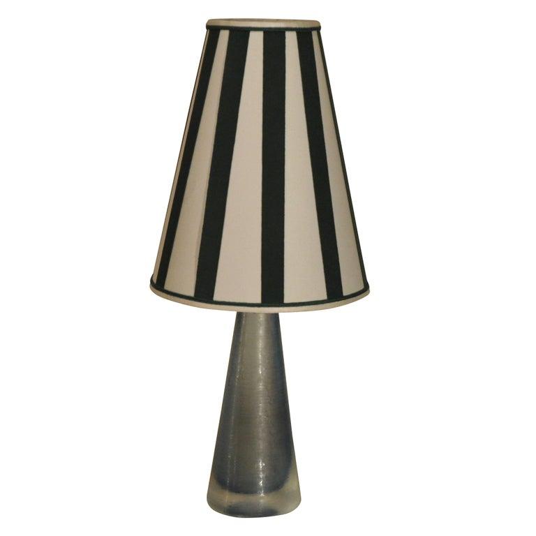 Italian Murano Light Blue Table Lamp Marked Venini, 1950s