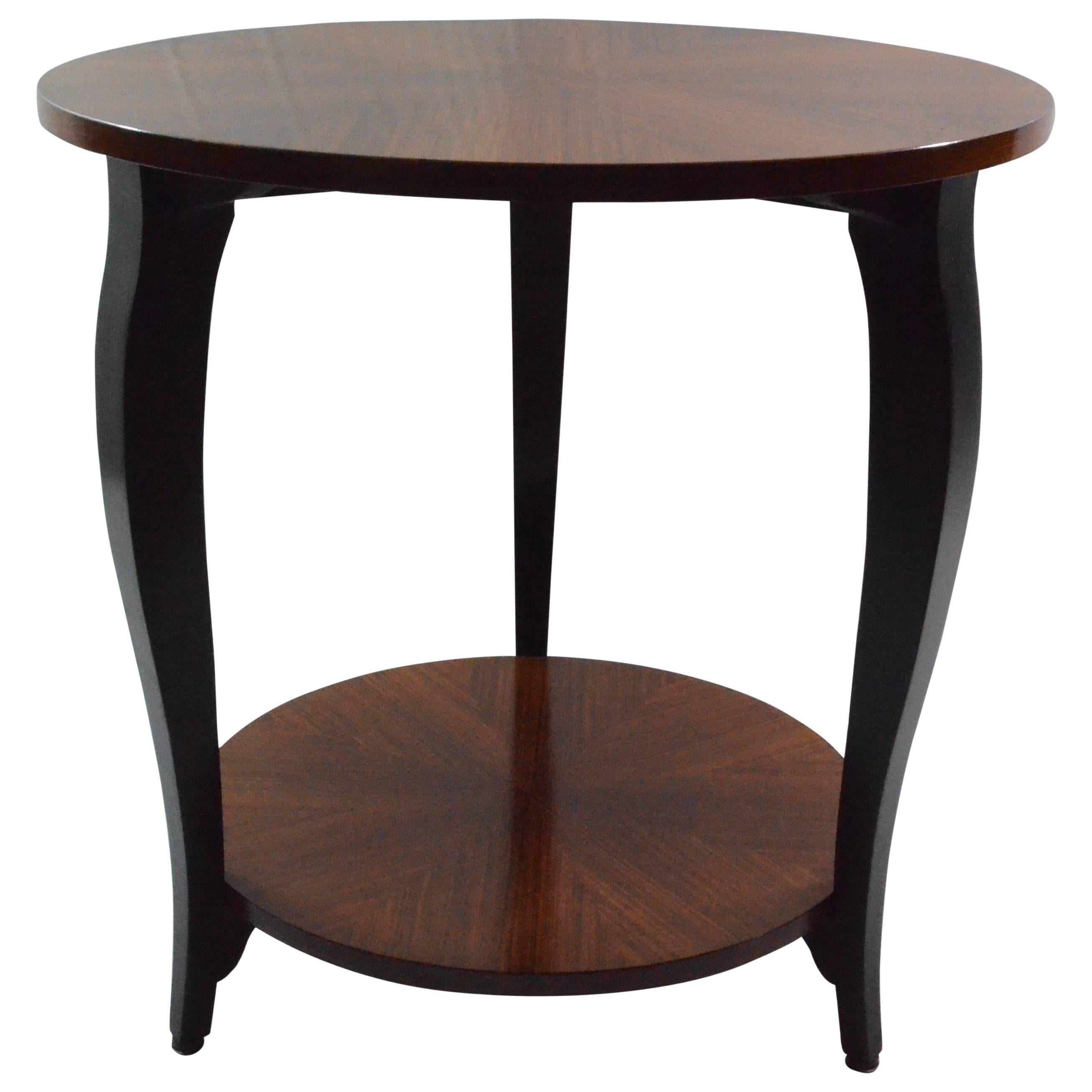 Art Deco Italian Veneered Wood And Black Details Rounded Small Sofa Table