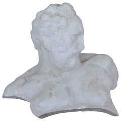 Italian White Big Plaster Bust 1940s Academic Representation of Crepuscolo