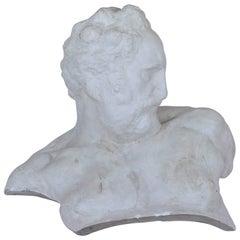 Italian White Big Plaster Bust 1940s Academic Representation of Crepuscolo