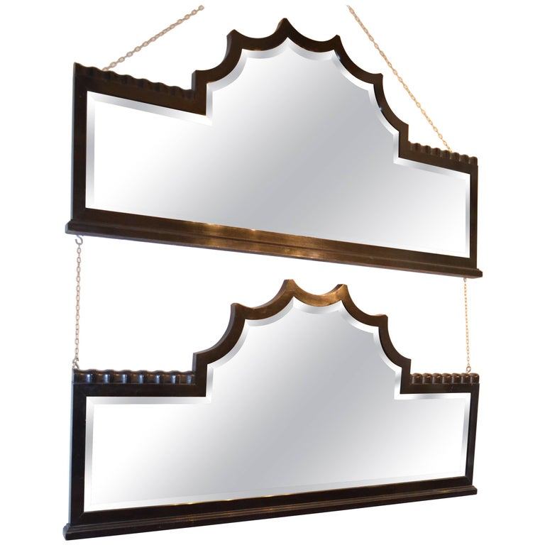 Art Deco Black Lacquered Wood Frame Two Mirrors